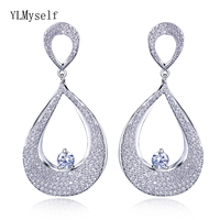 2019 New elegant women jewelry Micro pave cubic zirconia crystal jewellery Gold and white color Big water drop earrings