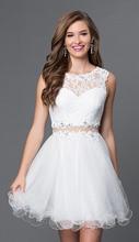 2016 neue Ankunft Mini Zwei Stück Homecoming Kleider Sleeveless Eine Linie Perlen Scoop Short Party Cocktail Prom Kleider