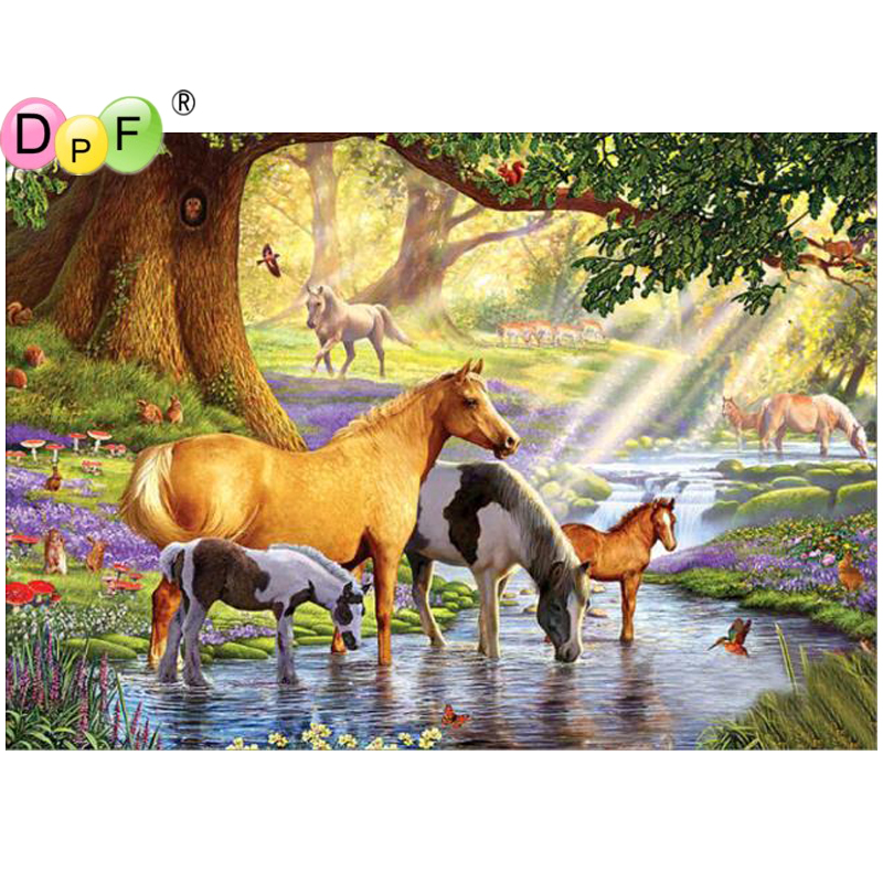 DPF DIY Horse Drink Water 5D crafts diamond painting cross stitch needlework diamond mosaic square home decor diamond embroidery