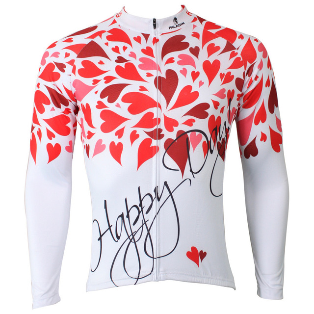 Happy Day Red hearts Petals Men Long Sleeve Cycling Jersey Polyester Bike / Bicycle Shirts White Cycling Clothing Size S-6XL