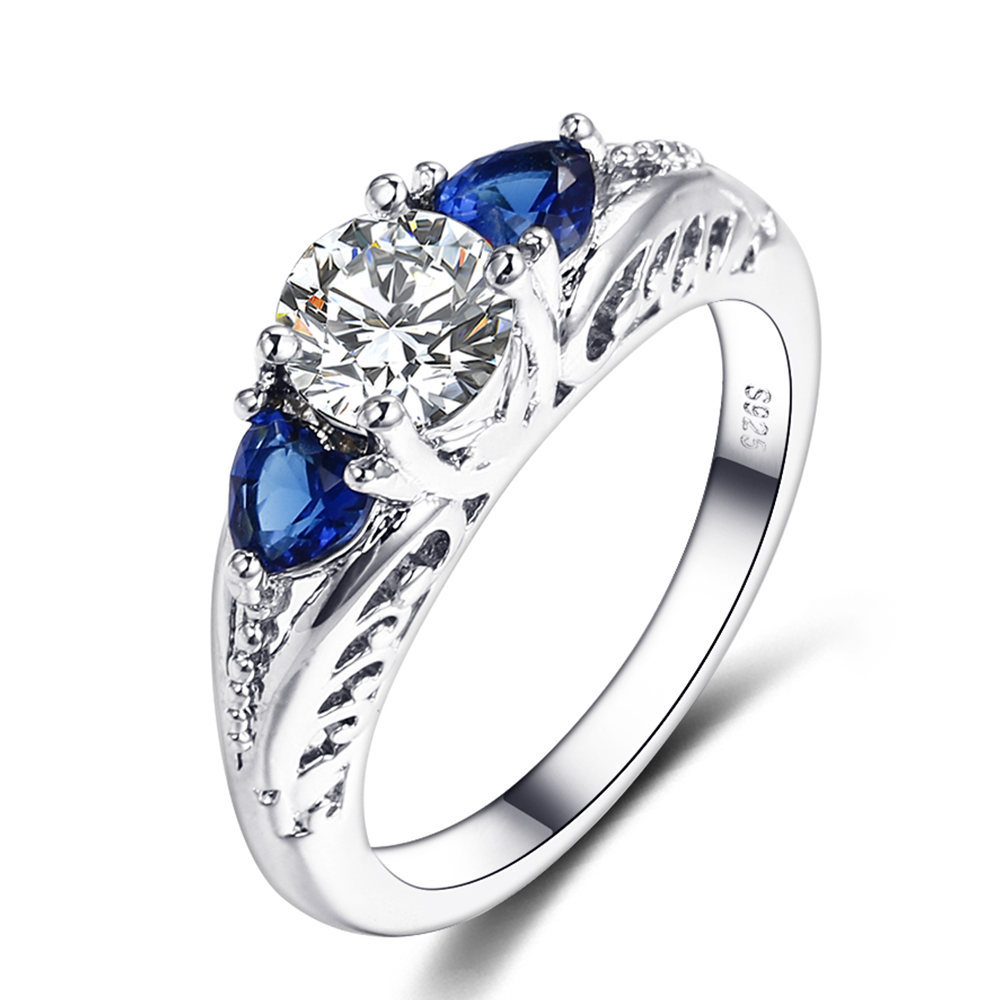 Bague Ringen Classic 100 925 Sterling Silver Sapphire Gemstone Wedding Engagement Rings for Women Fine Jewelry
