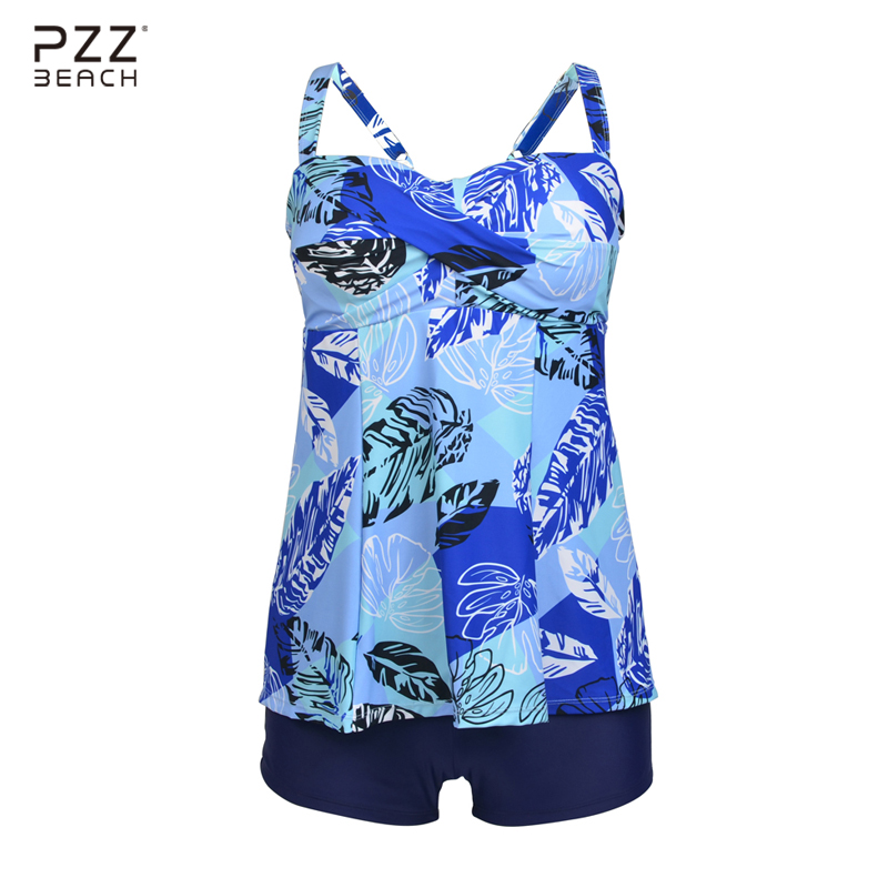 Women Vintage Two Piece Suits Palm Print Sexy Tankini With Shorts Plus Size Swimwear Female High Waist Bikinis Set Bathing Suits vintage bikinis retro plus size swimwear women high waist swimsuit print beachwear skirt bathing suits monokini tankini biquini