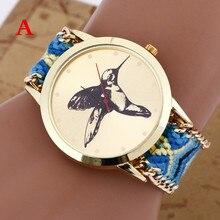 2015 New Handmade Rope Bracelet Bird Campanula Wristwatch Bohemia Geneva Golden Chain Fabric Dress Watch Fashion Women Watch