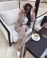 2018 Wool Tracksuits Rushed Winter Hooded Mink Velvet Knitted Suit Zipper Cardigan Sweater + Trousers Casual Two Sets Of Women