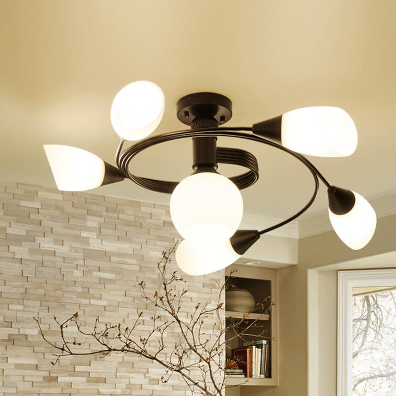 DX moderne Led lustre sphère fleur Luminaire café café lampe acier inoxydable Calla Lily Luminaire blanc lustre