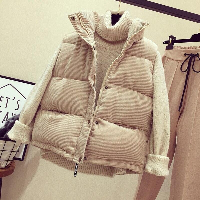 Short Waistcoat Vest Winter Jacket Parkas Warm Female Thick Autumn Cotton Sleeveless