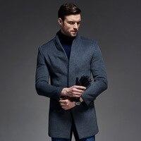 Зимнее шерстяное пальто мужская приталенная куртка Мужская модная верхняя одежда теплые мужские повседневные куртки пальто шерстяное буш