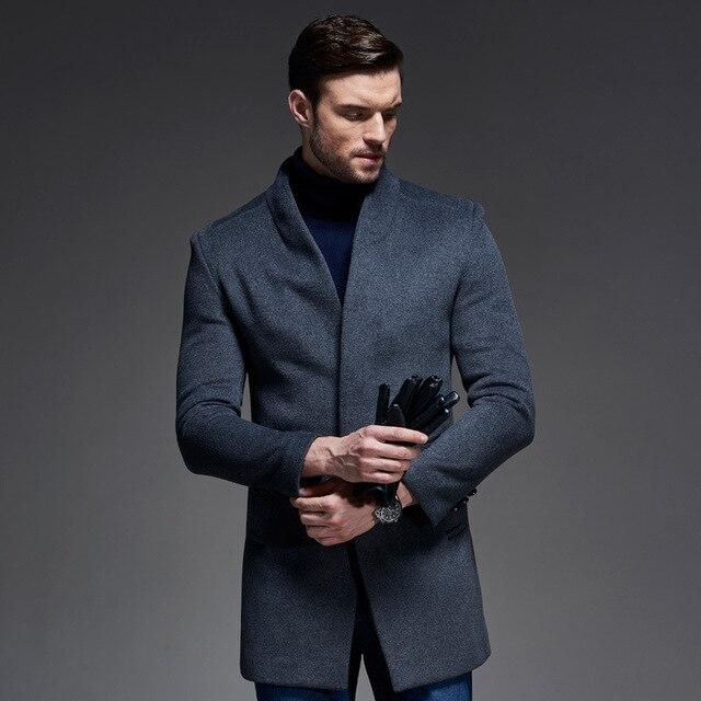 Зимнее шерстяное пальто мужская приталенная куртка Мужская модная верхняя одежда теплые мужские повседневные куртки пальто шерстяное бушлат пальто плюс размер XXXL