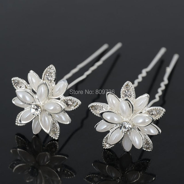 lots 20pcs pearl hairpins wedding flower clear crystal hair pin women hair jewelry wholesale bridal accessories