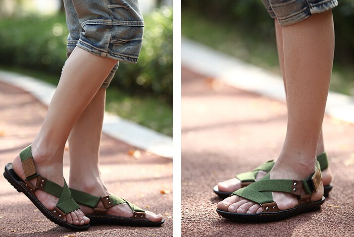 9f5c814075ea5c Sandals Men Casual PU Leather 2016 Summer New Design Beach Shoes Easy-match  Soft Bottom Men Slippers Color Black Green  ZH79.