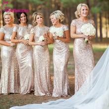 Champagne Lange vestido longo Pailletten Kurzarm Boden Länge Brautjungfer Kleid 2020 Prom Kleid Hochzeit Party Kleid