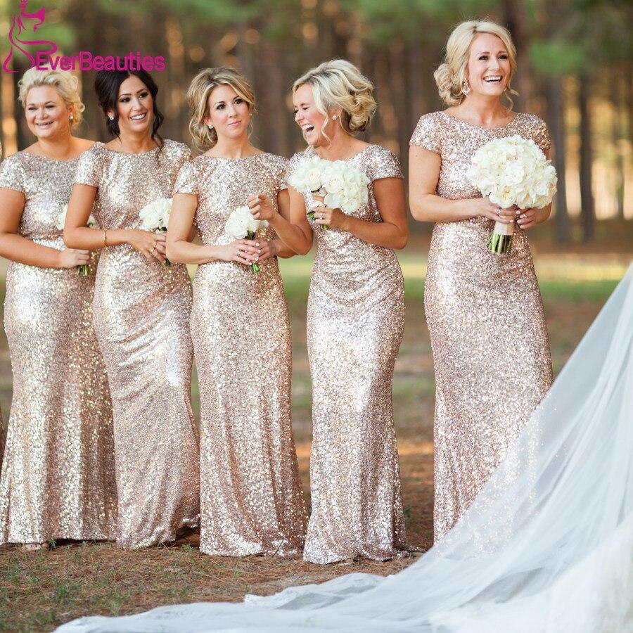 Champagne Long Vestido Longo Sequined Short Sleeve Floor Length Bridesmaid Dress 2019 Prom Dress Wedding Party Dress