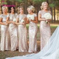 Champagne Long vestido longo Sequined Short Sleeve Floor Length Bridesmaid Dress 2018 Prom Dress Wedding Party Dress
