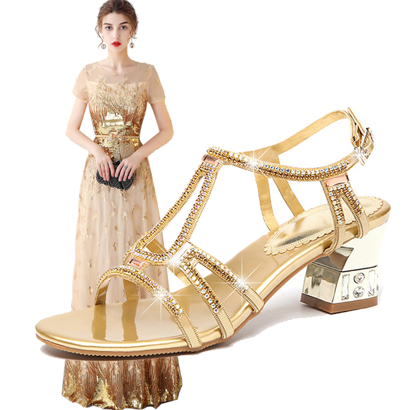 2018 Woman Evening Dress Shoes Match Golden Long Dress Rhinestone Leather High heeled Shoes Women Wedding Clothes Size S XXL
