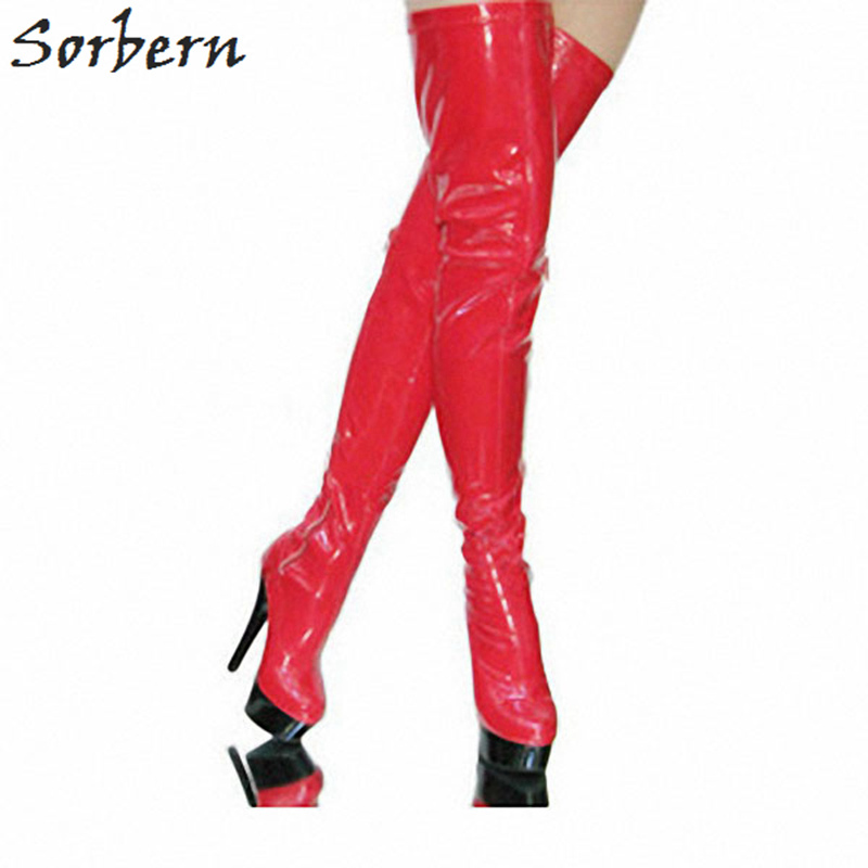 цена на Sorbern Red Over The Knee Boots For Women 15Cm High Heels Pointed Toe Platform Shoes Ladies Custom Leg Length Womans Red Boots