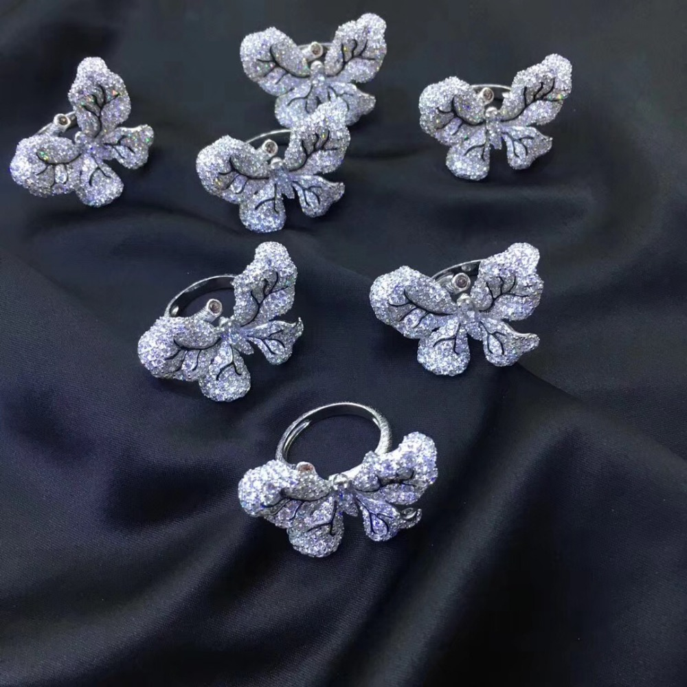 925 sterling silver with cubic zircon butterfly ring cute adjustable size pave stone fashion women jewelry free shipping - 4