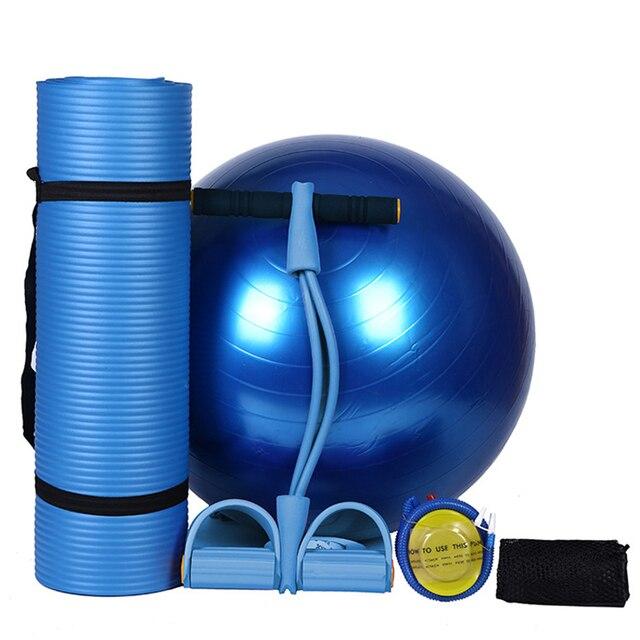 Yoga Set of 4pcs 10mm Non-slip Yoga Mats For Fitness Pilates Exercise Mats+65cm Yoga Fitness Balls+1* Foot Elastic Pull Rope