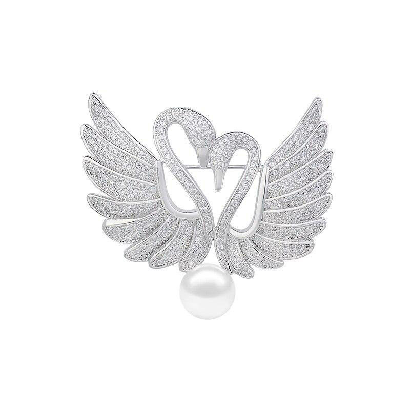 ヤンメイオシドリブローチ銀メッキczジルコニアコサージュブレストラペルピンファッションパールジュエリースワンブローチGLX0179