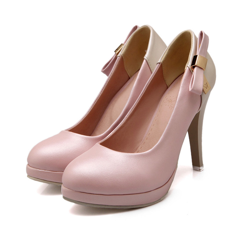 Big Size Sale  34-43 Apricot New Fashion Sexy Pointed Toe Women Pumps Platform   High Heels Ladies Wedding  Party Shoes  T83 platform pumps fashion 2015 new shoes pumps pointed toe women pumps bowtie party slip on spool heels size 34 43