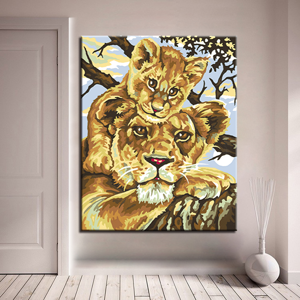 Oil Unique Gift For Home Wall Artwork African Lion DIY Painting By ...