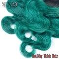 Один Пучок Зеленого Ombre Malsyain Волосы Объемная Волна Черный И Бирюзовый Sexay 2 Тон Ombre Темно-Зеленый 8А Реми Человеческих Волос