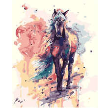Living Room Decoration,Wall Photos For Room,Colorful Horse,Diy Oil Painting By Numbers