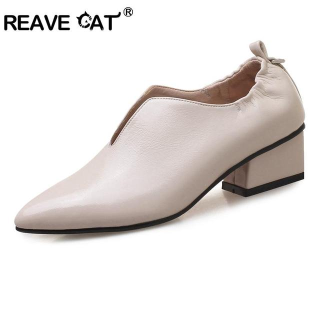 REAVE CAT Quality High Heels Shoes Woman Party Wedding Shoes Thick Heels pumps Party  women shoes Pumps Footwear stilettos B865a