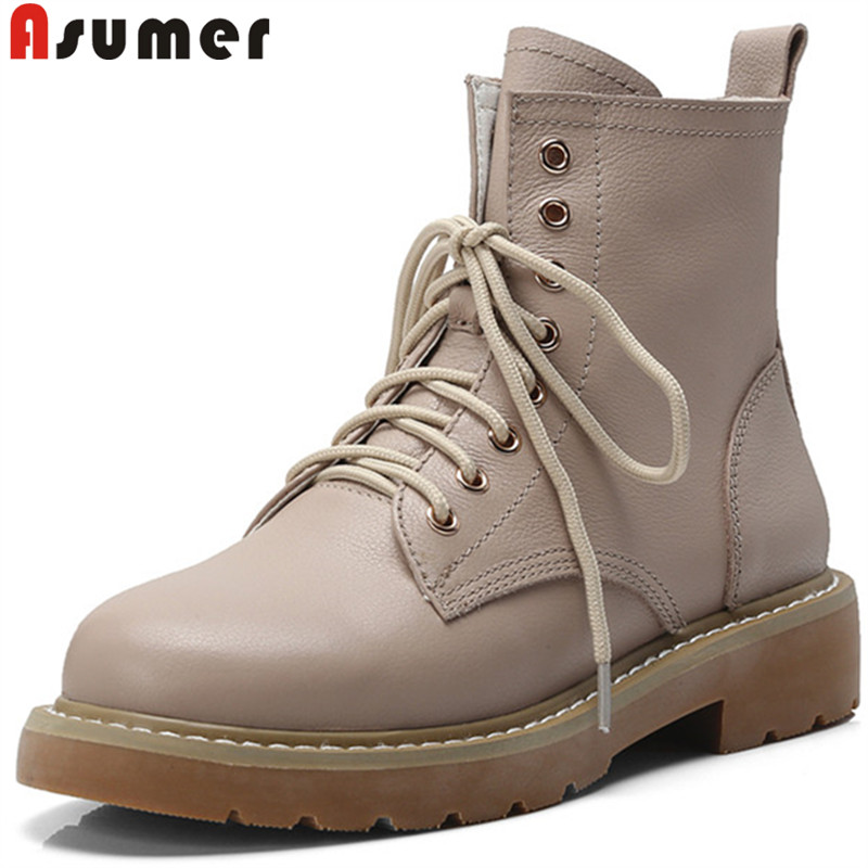 ASUMER fashion new ankle boots for women round toe lace up genuine leather boots med heels shoes casual motorcycle boots ASUMER fashion new ankle boots for women round toe lace up genuine leather boots med heels shoes casual motorcycle boots