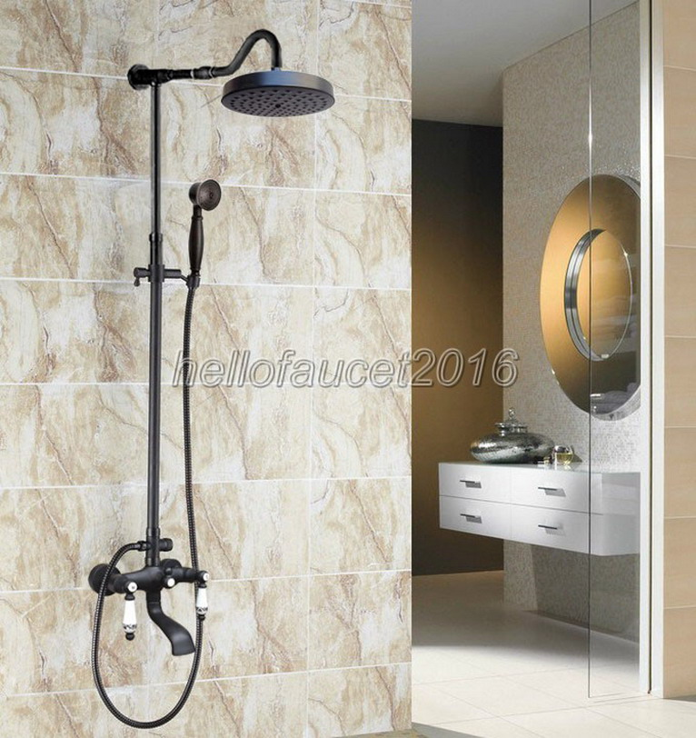 Bathroom Black Oil Antique Brass Rain Shower Faucet with Hand Spray Set Ceramic Handle Bath Tub Mixer Taps Wall Mounted lhg627 shower faucet wall mounted antique brass bath tap swivel tub filler ceramic style lift sliding bar with soap dish mixer hj 67040