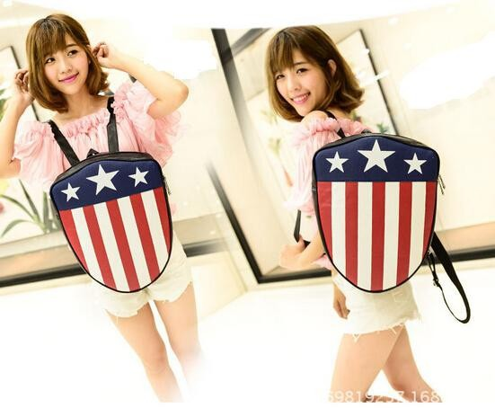 5 pieces stars strip American usa flag shield Captain America backpack bag pretty cool students fancy back pack schoolbag