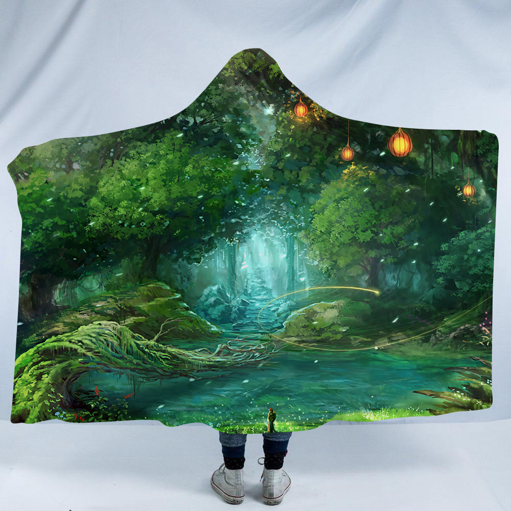Huge Mushroom Hooded Blanket For Adults Kids 3D Psychedelic Scenery Sherpa Fleece Bed Blankets Travel Camping Mantle Bedspreads in Blankets from Home Garden