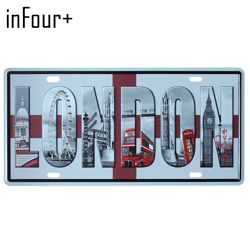 [inFour+] Hot UK London Plate Metal Plate Car Number Tin Sign Bar Pub Cafe Home Decor Metal Sign Garage Painting Plaques Signs