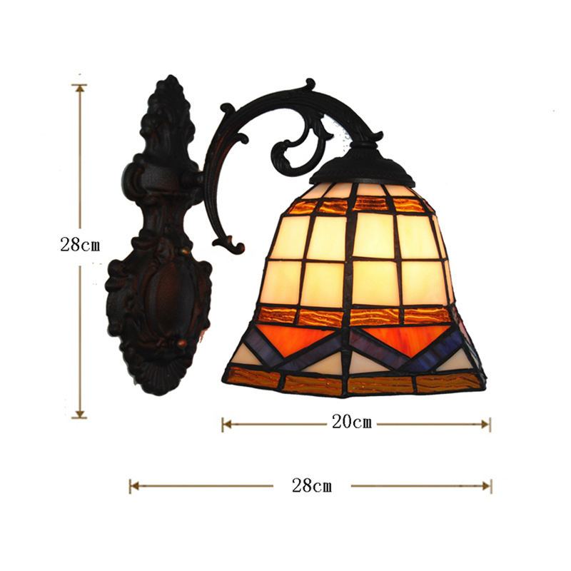 8 European Classic Handmade Stained Glass Wall Lamps Vintage