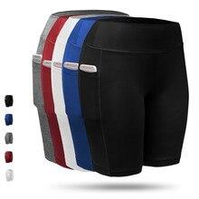 цена на Women Yoga Shorts with Pocket High Waist Quick Dry Breathable Sports Shorts Ladies Sportswear Running Fitness Gym Beach Shorts