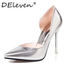 DEleven chaussures Sexy Stiletto Haut talons Chaussures De Mariage Ouvert Côté pompes Chaussures V en forme de biseau bout Pointu Femme Chaussures Or argent
