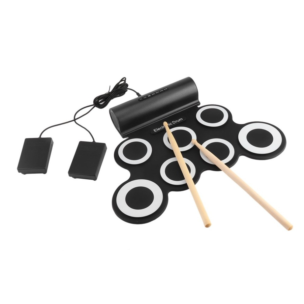 Portable Foldable Silicone Electronic Drum Pad Kit Digital USB Roll-up with Drumstick Foot Pedal with Audio Cable electronic drum pad set digital roll up drums kit foldable silicone usb midi roll up drums foot pedal percussion instruments