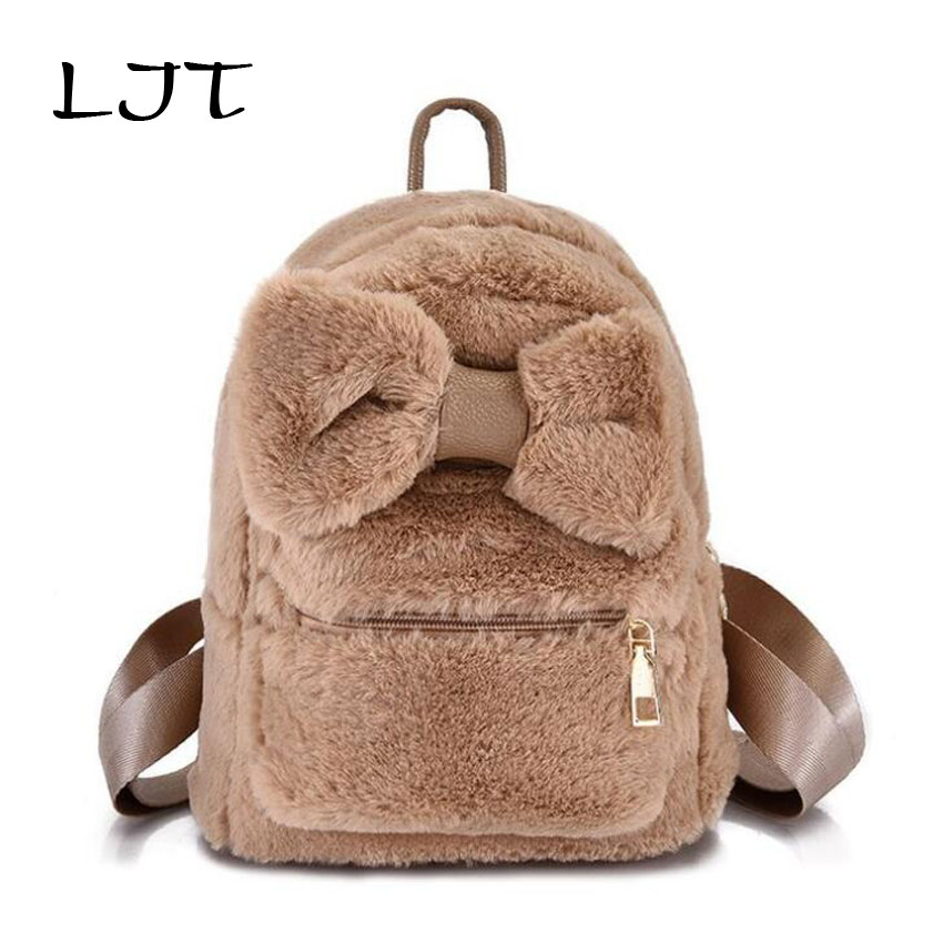 Detail Feedback Questions about LJT Cute Faux Fur Backpack Bow Tie Winter  Soft Women s Mini Furry Fluffy Plush Backpack Girls Travel Rucksack sac a  dos ... 48f91b8615ceb
