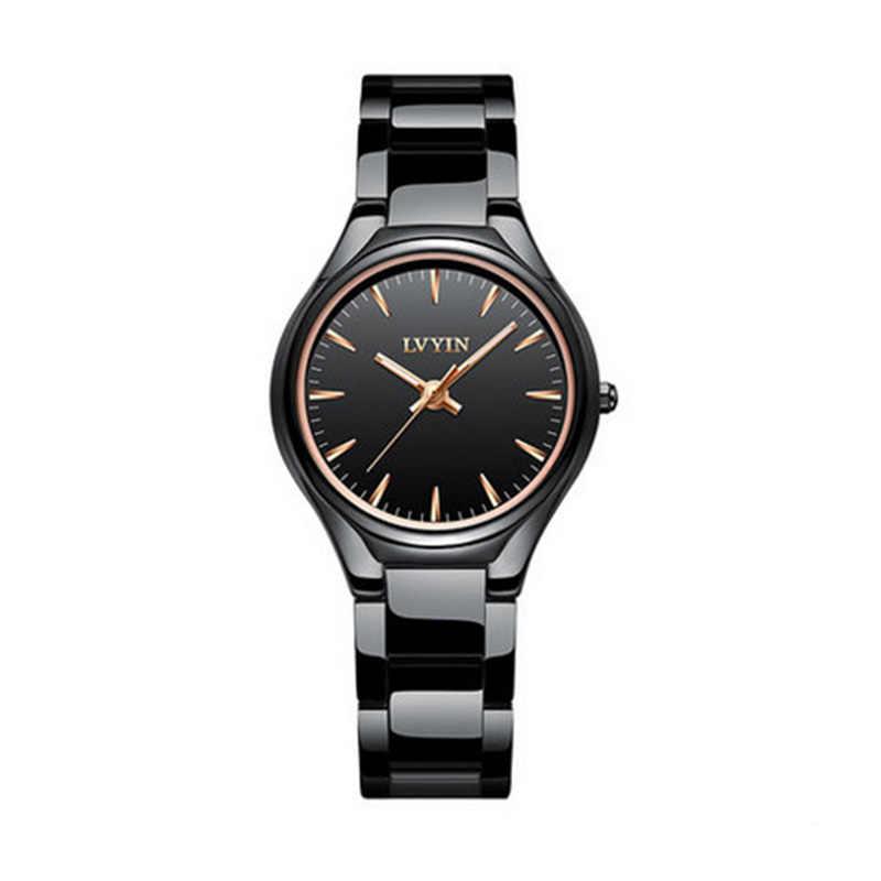 596cc6e92aa5 LVYIN женские кварцевые часы простые дизайнерское керамическое ...