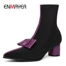 afe77e0d18 ENMAYER 2018 novos ankle boots cor misturada mulheres grosso salto alto botas  Chelsea senhoras inverno botas