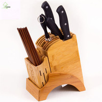 YI HONG Bamboo Kitchen Knife Holder Multifunctional Kitchen Accessories Storage Rack Tool Holder Wood Knife Stand Knife Rack