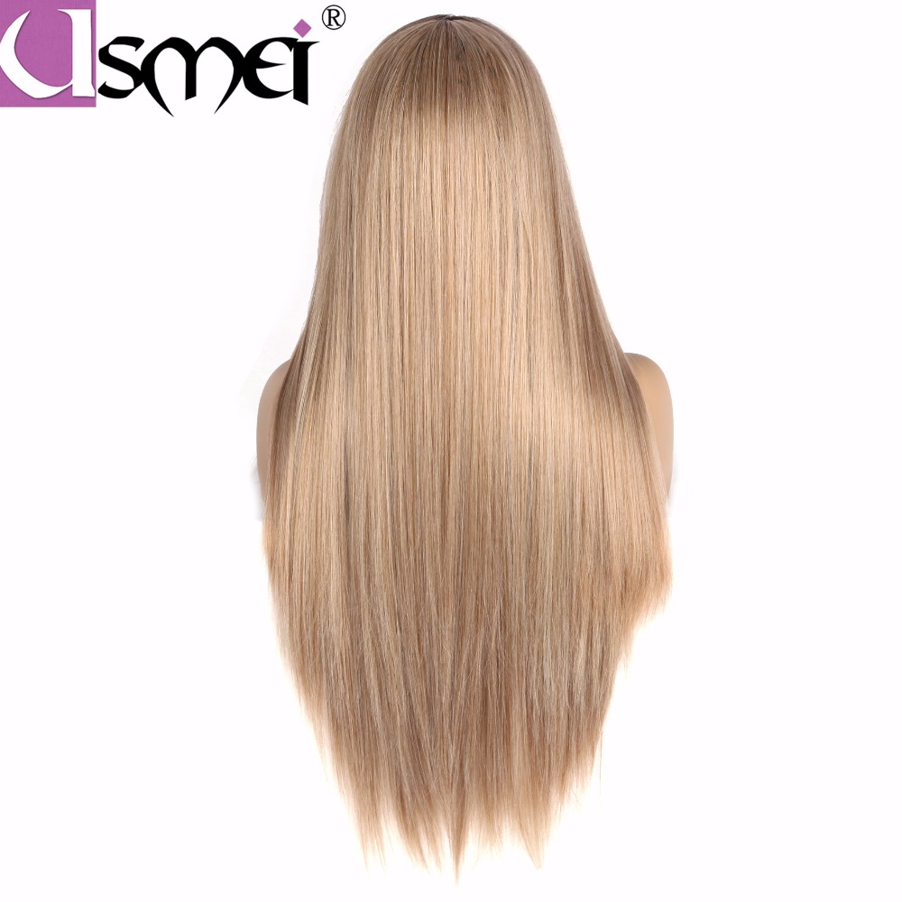 USMEI Long mixed Blonde straight wig for women synthetic cosplay wigs ombre brown root High Density Temperature fiber fake hair in Synthetic None Lace Wigs from Hair Extensions Wigs