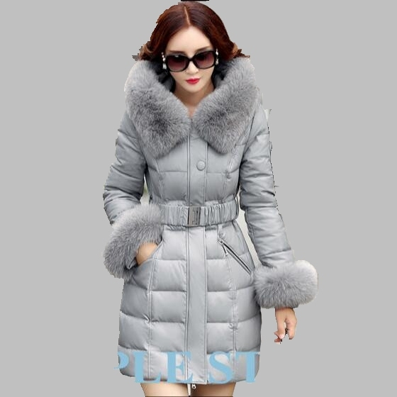 Cheap 2016 Winter Women Coat New Fox Fur Collar Leather Jacket Medium long Thick Down Jacket Large size Fashion Sheep Skin Coat AB224