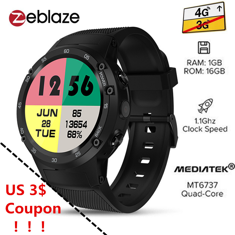 Zeblaze THOR 4 4G Smartwatch Phone Android 7.0 MTK6737 1.1GHz Quad Core 1GB RAM 16GB ROM 5.0MP Camera 4G/3G/2G Watch For Man цена 2017
