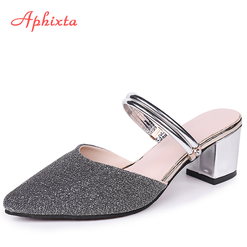 Aphixta Slippers Women <font><b>Shoes</b></font> <font><b>Mules</b></font> Pointed Toe Woman Sequined Cloth Slides Summer Loafers Lady Sandals Women Terlik Big Size 43