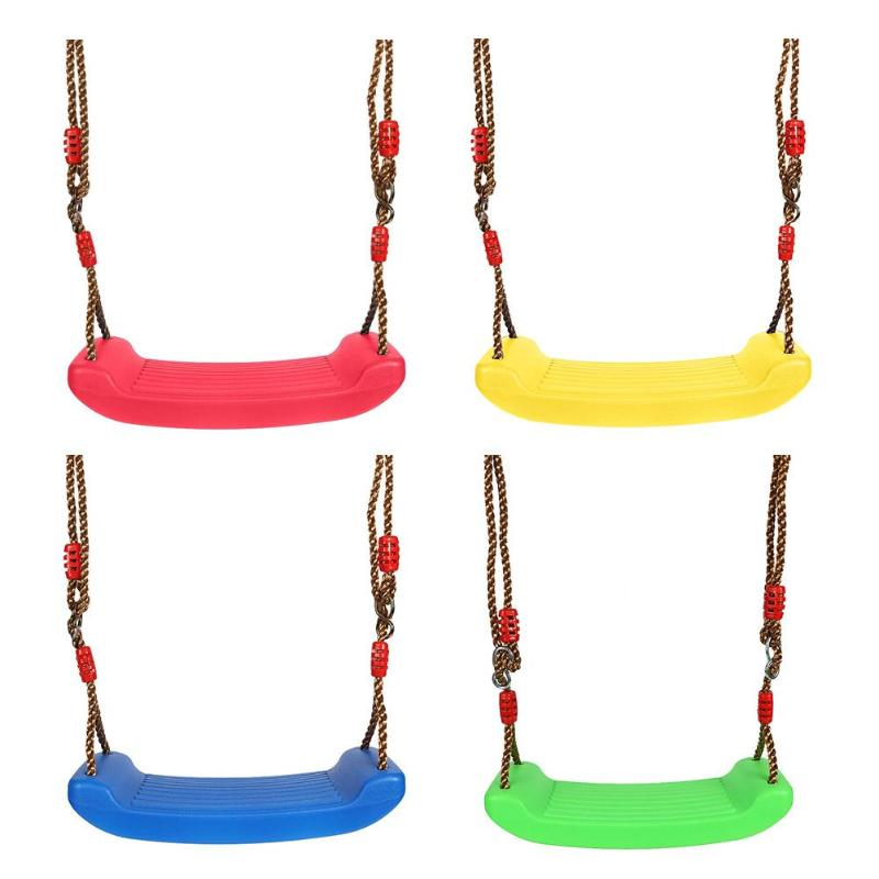 Plastic Garden Swing Kids Hanging Seat Toys With Height Adjustable Ropes Indoor Outdoor Toys Rainbow Curved Board Swing Chair