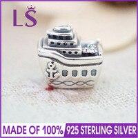 LS Chất Lượng Cao Bất 925 Sterling Silver Cruise Ship Charm Hạt Fit Gốc Lắc Pulseira Encantos. 100% Mỹ Jewlery. J