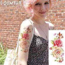 1 piece flash henna tattoo fake temporary tattoos stickers sexy romantic rose flowers arm shoulder tattoo waterproof women