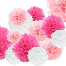 5pcs/set 19colors 15cm/20cm/25cm Mixed Sizes Tissue Paper Pom Poms Flower Hanging Decoration Birthday Party Wedding
