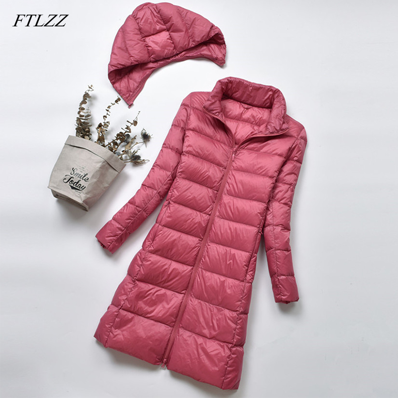 FTLZZ Women Warm 90 White Duck Down Coat Winter Ultra Light Down Jacket Women Hooded Parka