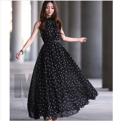 8b77ae39be0 Hot Selling 2014 dots dew shoulders women summer dress black red long one-piece  dress chiffon loose Europe Style black sashes